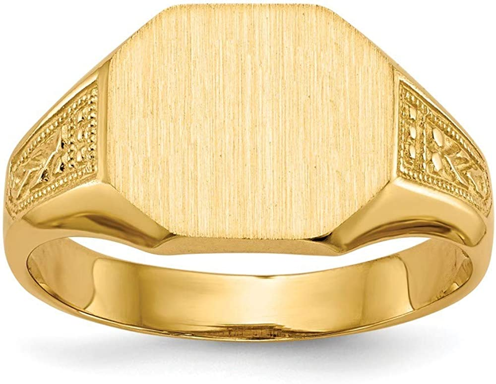 Roy Rose Jewelry 14K Yellow Gold Open Back Mens or Womens Signet Ring Custom Personalized with Free Engraving Available Initial or Monogram