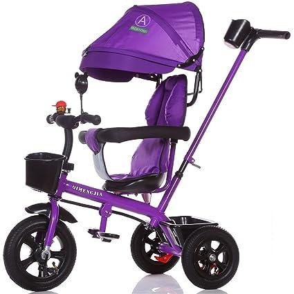 Multifuncional 4-en-1 Edición deportiva Trike Triciclo infantil Carrito para niños con toldo