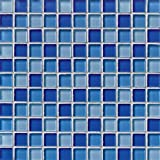 1'' x 1'' Crystallized Glass Glossy Mosaic in Blue Blend
