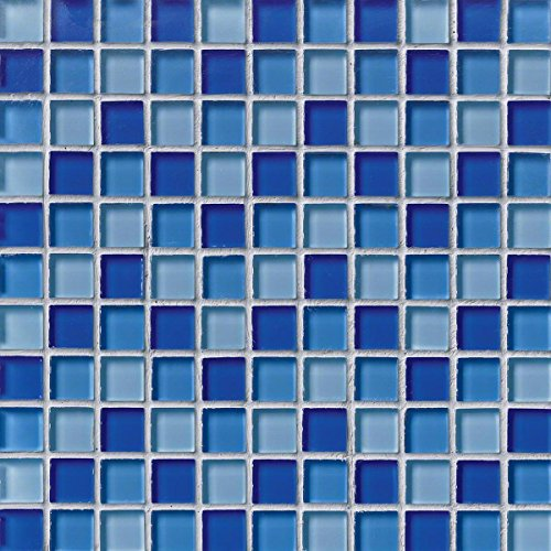 M S International Blue Blend 12 In. X 12 In. X 8mm Glass Mesh-Mounted Mosaic Tile, (10 sq. ft, 10 pieces per (Limestone Mosaic Tile)