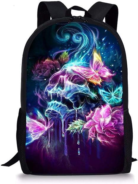 Unisex Kids 17 USB Backpack Butterfly Pink Multipurpose Daypacks Casual Knapsack for Class