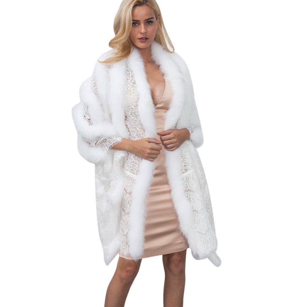 kingf Women's Lace Faux Fur Wrap Shawls Shrug Bridal Wedding Scarves Jacket Coat kingfansion Women