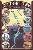 Bridges of Portland, Oregon (12x18 Collectible Art Print, Wall Decor Travel Poster)
