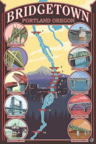 Bridges of Portland, Oregon (12x18 Art Print, Wall Decor Travel - Framing Portland Oregon Supplies