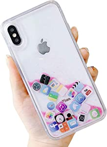 UnnFiko Liquid Glitter Case Compatible with iPhone 7 Plus/iPhone 8 Plus, Hard Back Colorful Bling Quicksand with iOS icon Apple APP Shine Phone Case for iPhone (Pink Glitter, iPhone 7 Plus / 8 Plus)