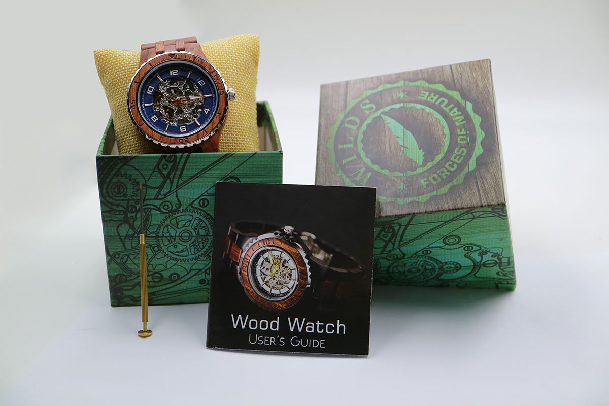Wilds Wood Watches Premium Eco Self-Winding Wooden Wrist Watch For Men, Natural Durable Handcrafted Gift Idea for Him (Kosso) by Wilds (Image #6)