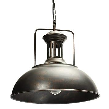 AOGUERBE Iluminación Colgante Vintage, Lámpara Industrial Retra Pantallas Luz de Techo Rústica Pantalla Lampshade Pendant de Metal Interfaz E27 para ...