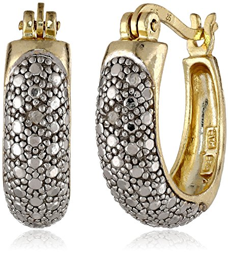 "Yellow Gold-Flashed Sterling Silver Hoop Earrings with Diamond Accents (0.7"" Diameter)"