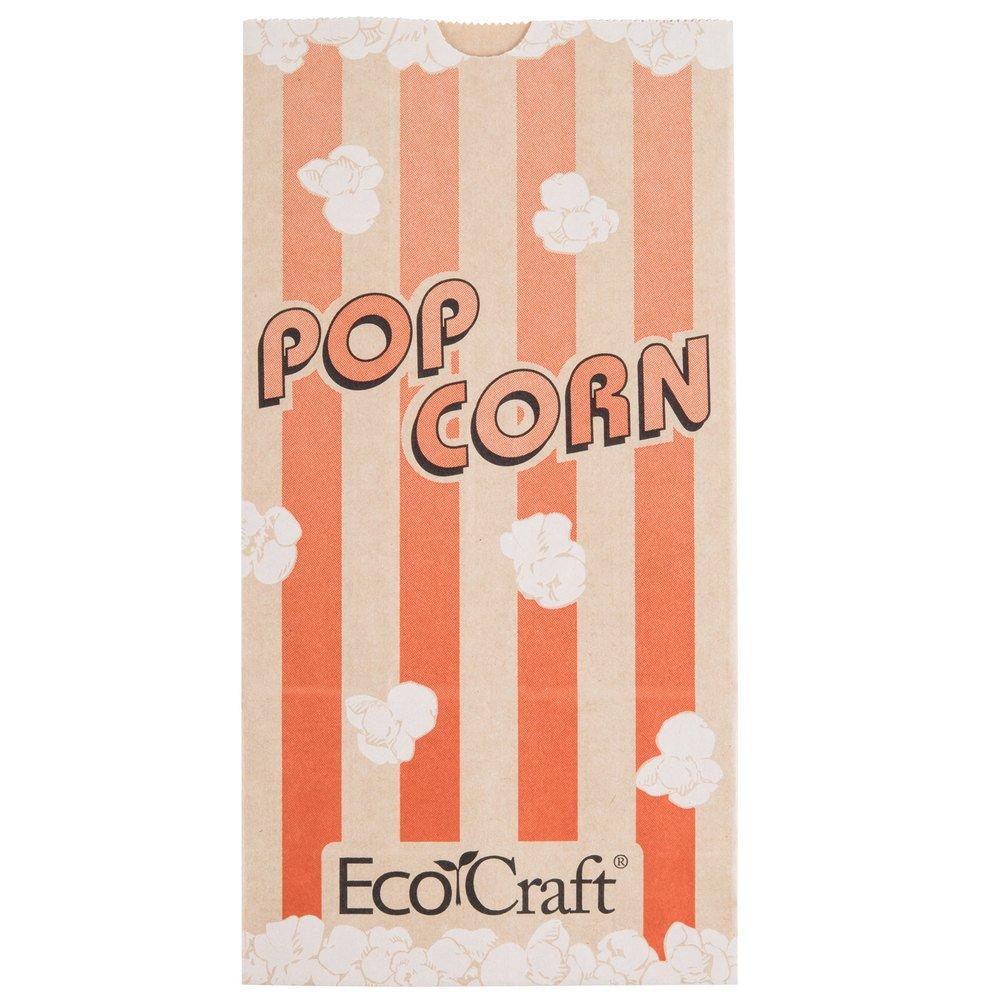 Bagcraft Papercon 300611 4 1/4'' x 2 1/2'' x 8 1/4'' 46 oz. EcoCraft Popcorn Bag - 1000/Case