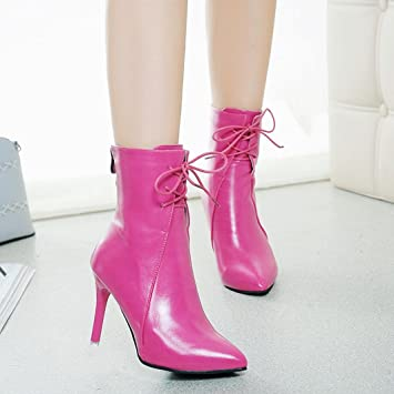 e6402c2246b92 Ecurson Women Gladiator Pumps Chunky Boots Pointed Toe Lace-Up High ...