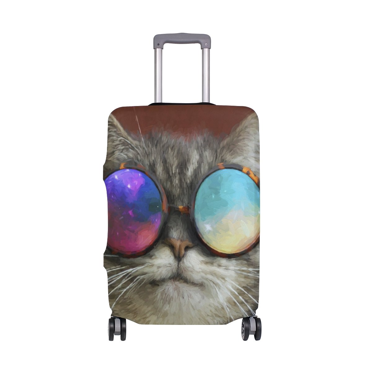 Glasses Cool Cat Travel Luggage Cover Stretchable Pulling Cloth Suitcase Protector Fits 29-32 Inches Luggage by Ouraiie