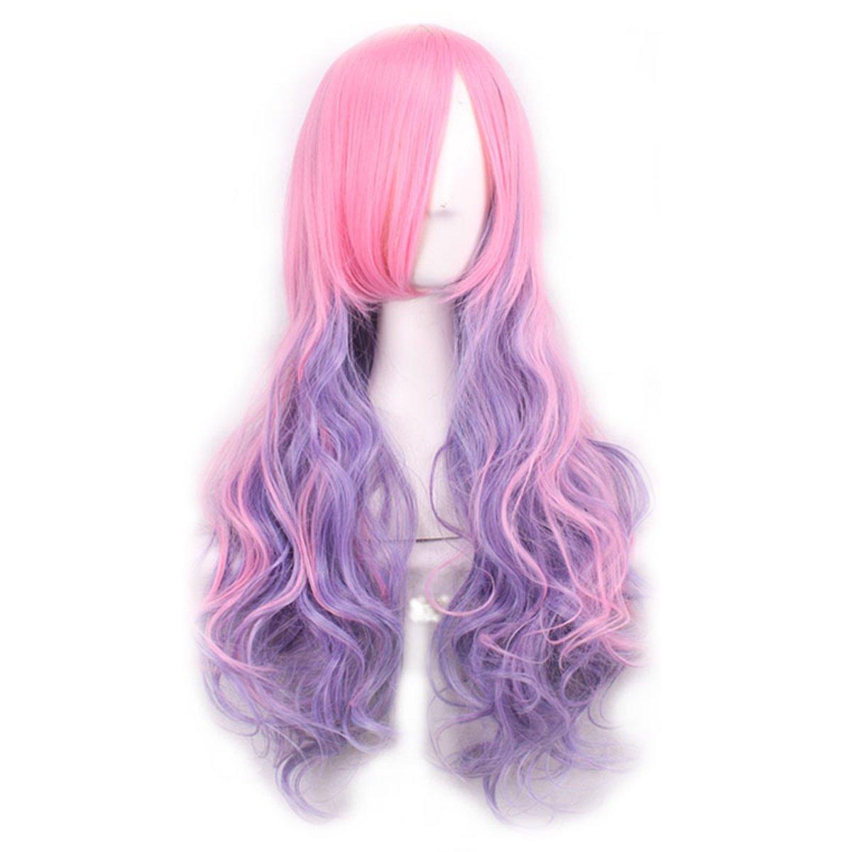6 Multi-color frauen Perücke Langes Lockiges Haar Hitzebeständige Perücken für Frauen Mädchen Frcolor 27 Rosa // Lila