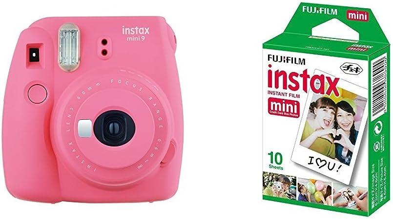 Fujifilm Instax Mini 9 , Rosa + 1 paquetes de películas fotográficas instantáneas (10 hojas): Amazon.es: Electrónica
