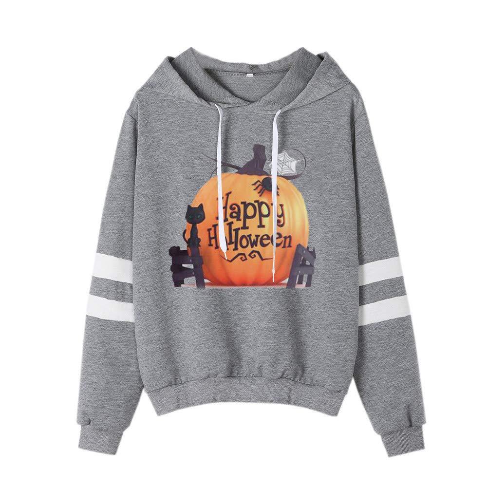 Farjing Clearance Sale,Womens Halloween Printed Sweatshirt Long Sleeve Casual Hooded Shirt Blouse(L,Gray)