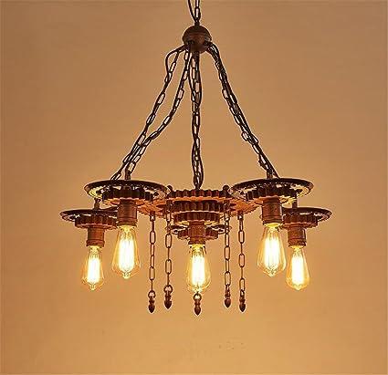 H&M Iluminación de interior colgante Lámparas de Techo de Hierro Forjado Iluminación Lámpara de luz de