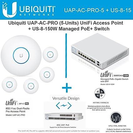 Ubiquiti Network UAP-AC-PRO-5 UniFi Access Point 5GHz Wi-Fi System 802 11ac  + US-8-150W UniFi Managed Switch PoE+ Gigabit 8-Ports with SFP