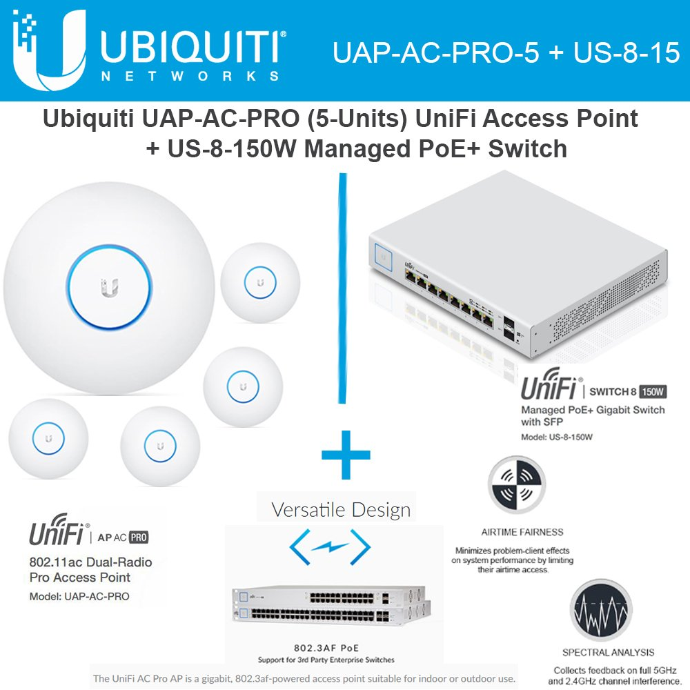 Ubiquiti Network UAP-AC-PRO-5 UniFi Access Point 5GHz Wi-Fi System 802.11ac + US-8-150W UniFi Managed Switch PoE+ Gigabit 8-Ports with SFP