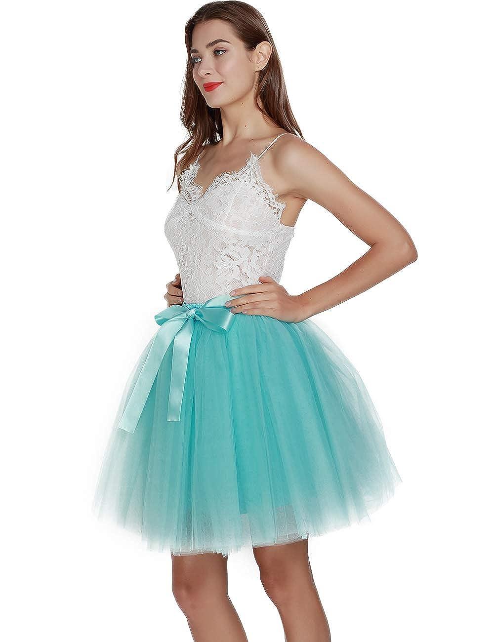 Womens High Waist Princess Tulle Skirt Adult Dance Petticoat A-line Wedding Party Tutu
