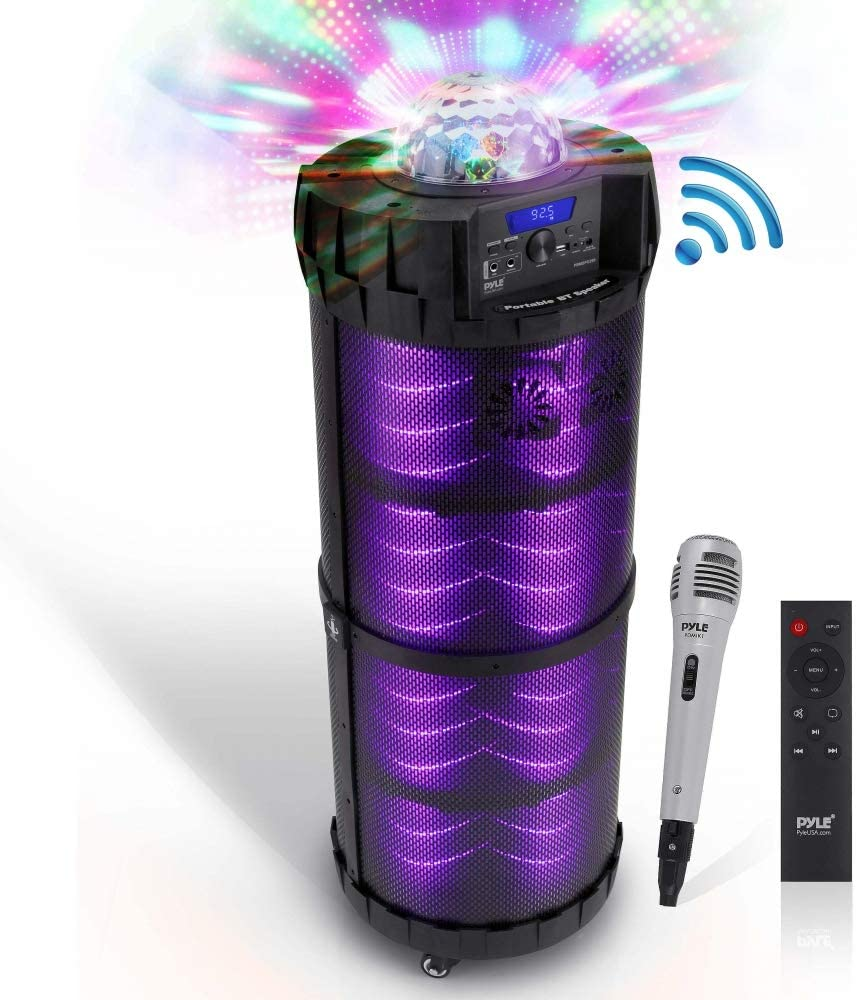 """Outdoor Wireless Boombox Stereo System - 800W Portable Bluetooth Compatible Rechargeable Speaker w/FM Radio USB / MP3 Player Aux, 1/4"""" in, LED Lights - Microphone, Remote Audio Cable - Pyle PBMSPG290"""