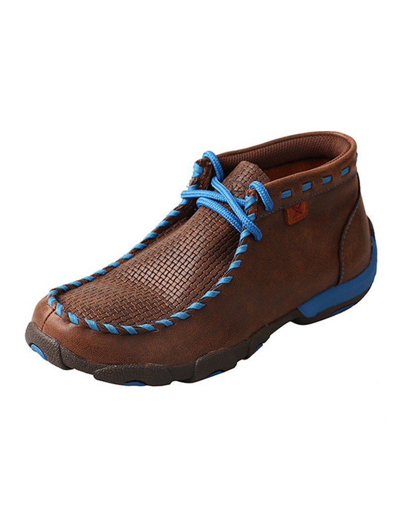 Twisted X Boys' Blue Lace Driving Moccasin Boot Moc Toe Brown 4 D