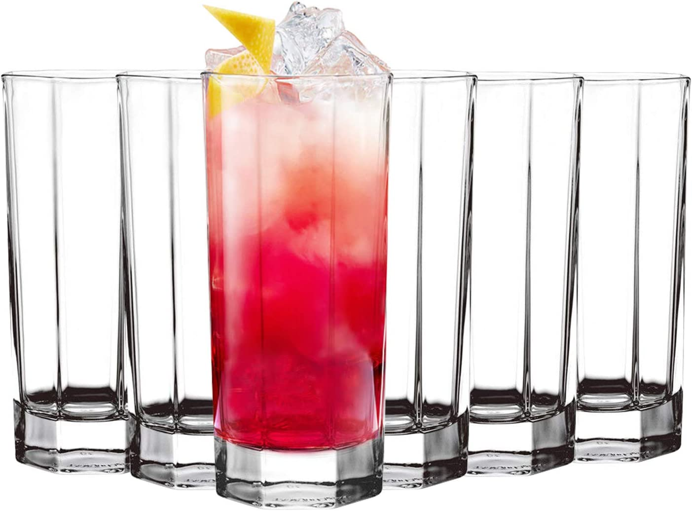 Tebery 6 Pack Clear Highball Glasses Drink Glasses 11 Ounce Unique Octagonal Glass Cup Tumbler Beverage Set
