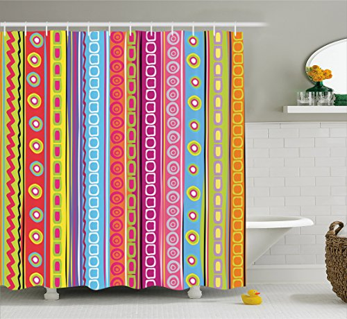 Ambesonne Striped Shower Curtain, Colorful Retro Stripes Circles Boho Pattern 90's Style Ethnic Rainbow Art Print, Fabric Bathroom Decor Set with Hooks, 70 inches, - Rainbow Curtain Stripes