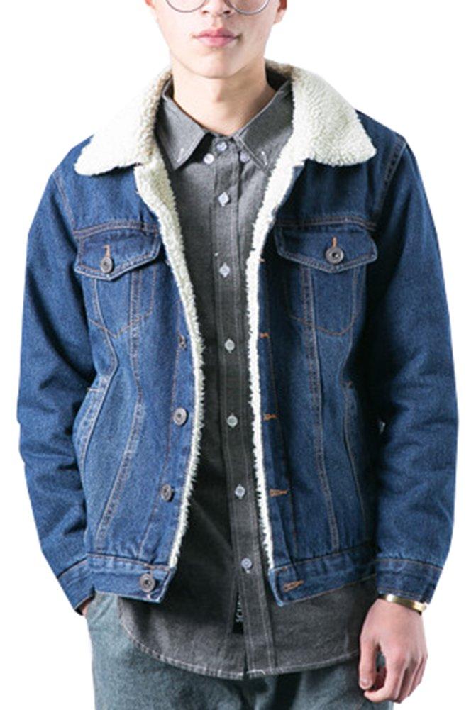 LifeHe Men's Winter Fleece Lined Fur Collar Denim Jacket Coats 2018 (Deep Blue, L)