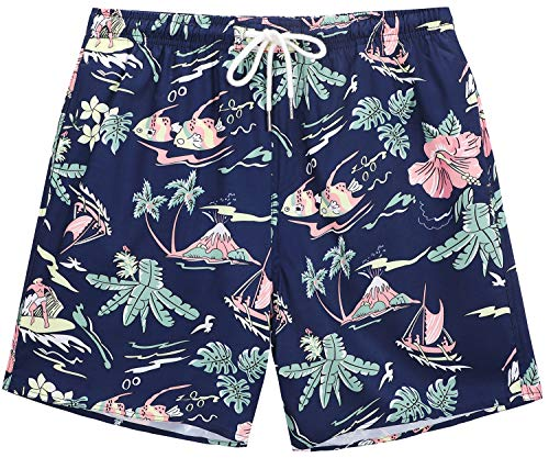 ae9f833a66 Janmid Mens Slim Fit Quick Dry Short Swim Trunks with Mesh Lining Navyblue  Greenleaf XL