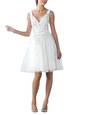 NUOJIA V-Ausschnitt Tüll Hochzeitskleid Kurz mit Applikationen ...