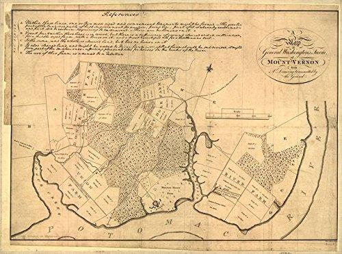 Imagekind Wall Art Print Entitled Vintage Map of The Mount Vernon Plantation (1801) by Alleycatshirts @Zazzle | 32 x 24