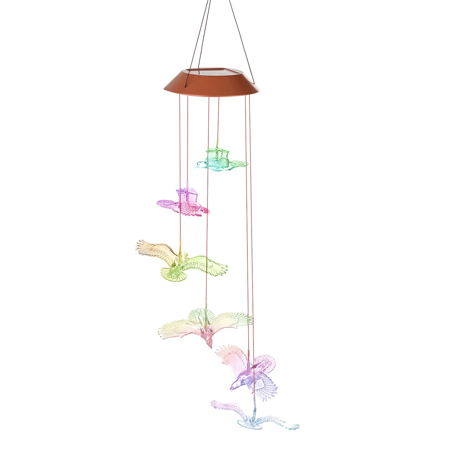AGPTEK Color-Changing LED Solar Mobile Wind Chime, LED Changing Light Color Waterproof Six Bald Eagles Wind Chimes For Home/ Party/ Night Garden Decoration