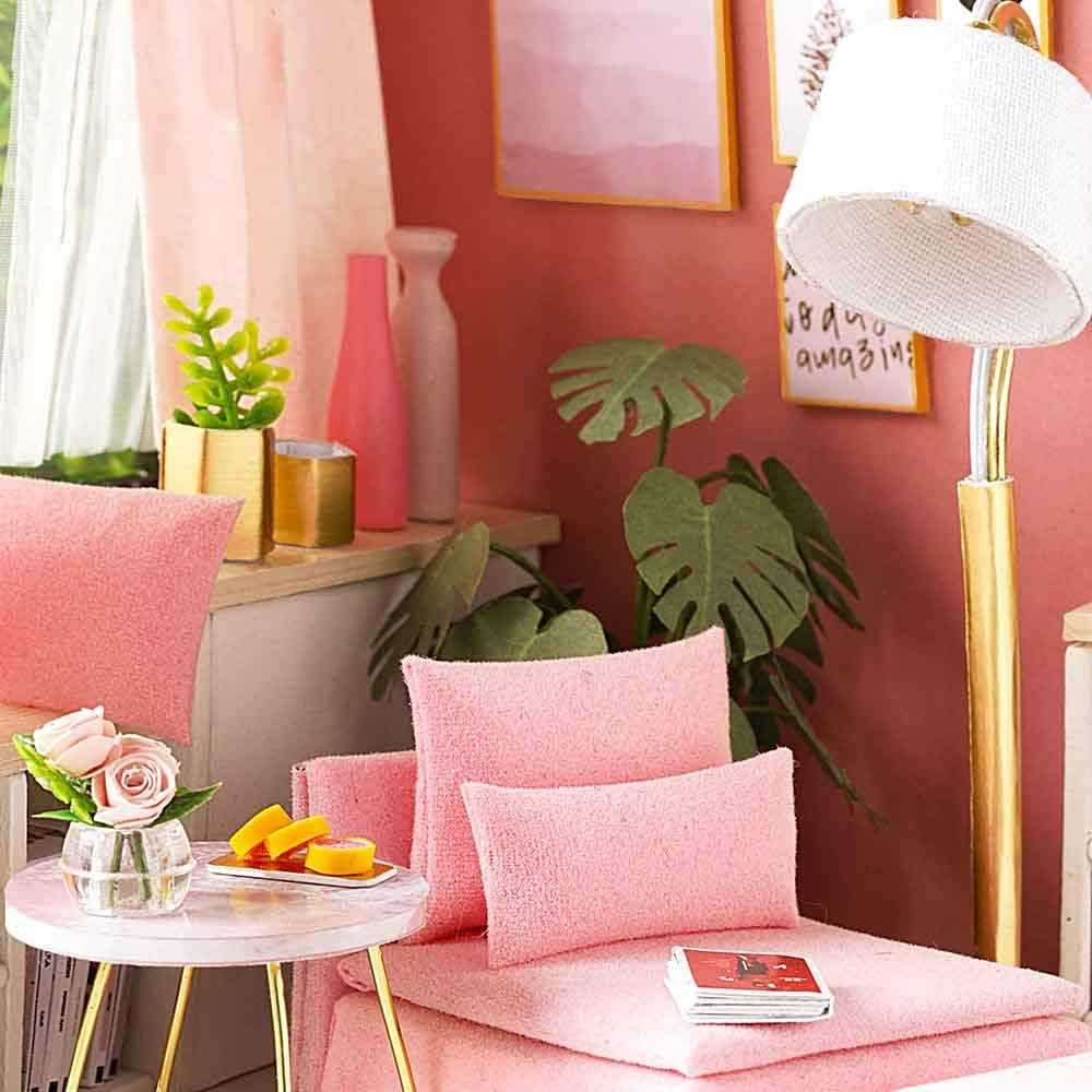 Weehey DIY Miniature Dollhouse Kit Realistic Mini 3D Pink Wooden House Room Toy with Furniture LED Lights Christmas Childrens Day Birthday Gift