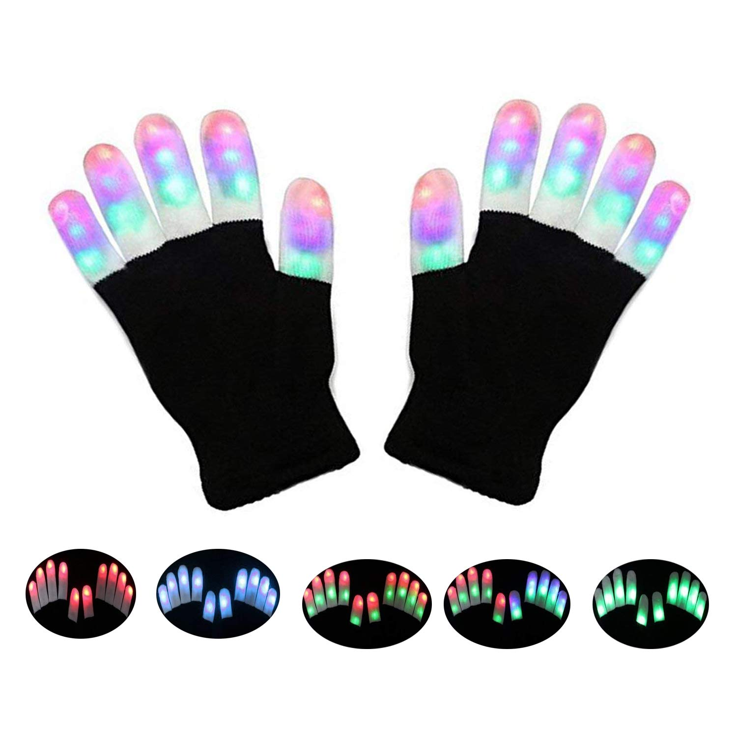 LSXD LED Gloves, Finger Lights 3 Colors 6 Modes Flashing LED Warm Gloves Colorful Flashing Rave Glow Gloves Kids Toys for Christmas Halloween Party Favors Light Up Toys Novelty