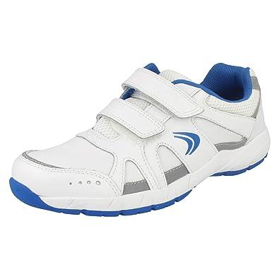 Boys Cica by Clarks Sports Trainers Cross Zinc White/Blue Size 5F