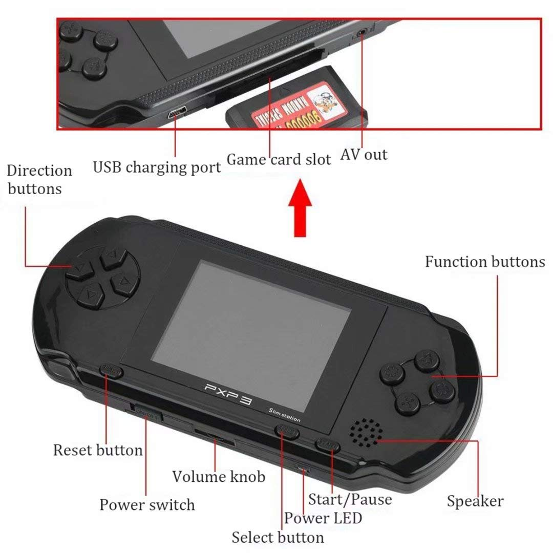 qiaoniuniu Handheld Game Console Kids Gift 16 Bit Portable Classic Video Games 150 Games Retro MD Paly Games PXP3 (Color: Black) by qiaoniuniu (Image #4)