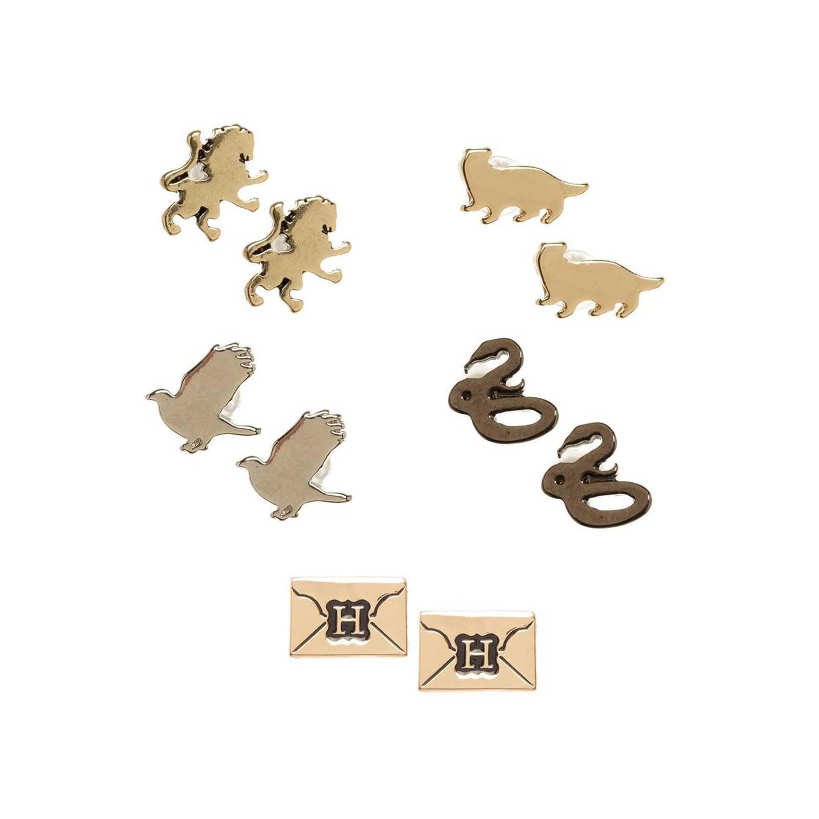 Harry Potter Earrings Hogwarts House Emblems Official Stud 5 Pack Set