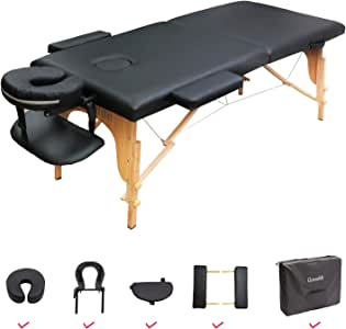 GreenLife® Basic™ Super Stable 28 Inches Width Height Adjustable Portable 2 Fold Massage Reiki Facial Table Bed with Free Carrying Bag & Head Rest & Arm Rests (All Included, Black)
