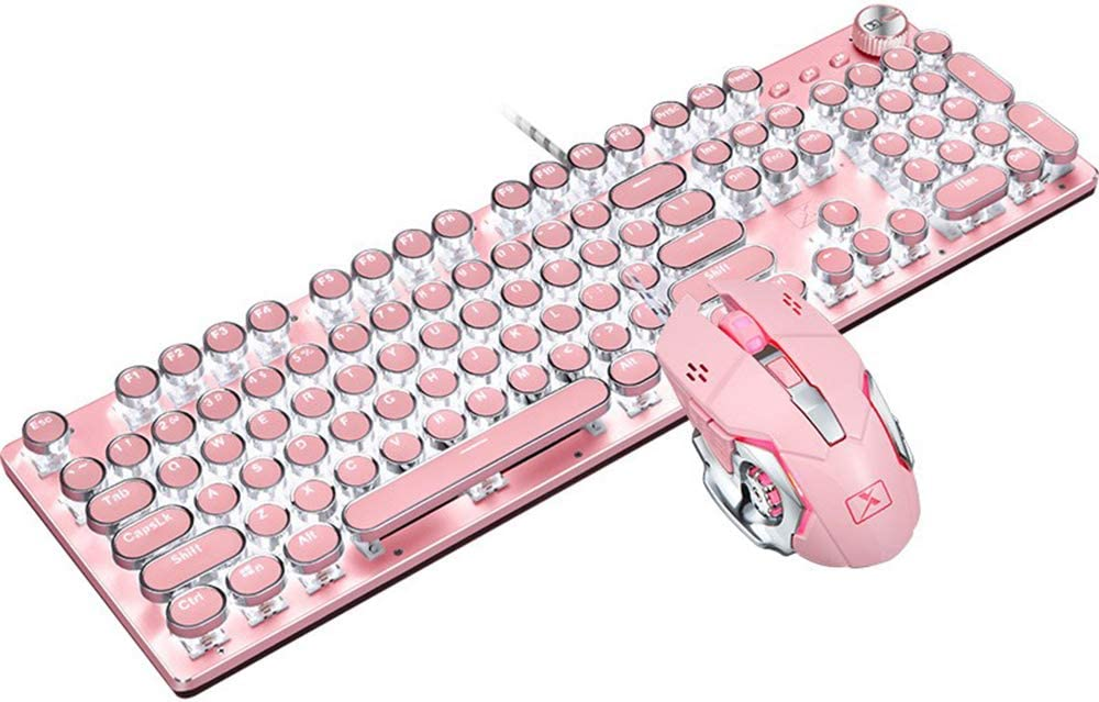 Basaltech Mechanical Gaming Keyboard and Mouse Combo, Retro Steampunk Vintage Typewriter-Style Keyboard with LED Backlit, 104-Key Anti-Ghosting Blue Switch Wired USB Metal Panel Round Keycaps, Pink