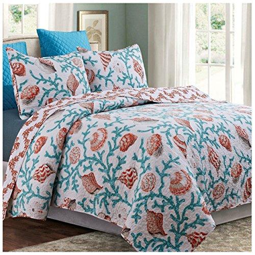 Hampton Shore Reversible Quilt Set, Coastal Coral and Seashell Pattern, 2-Piece Set with Quilt and Pillow Sham - Twin, Hampton Shore