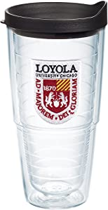 Tervis Loyola Ramblers Logo Insulated Tumbler with Emblem and Black Lid, 24-Ounce, Clear