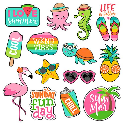 Aesthetic Stickers for Girls[14PCS], Cute, Trendy, Lovely Summer Vinyl Sticker Pack for Hydro Flask Water Bottles Tumbler Laptop MacBook Computer Phone Pad, Scrapbooking Decal for Kids, Teens, Women (Girl Vinyl)
