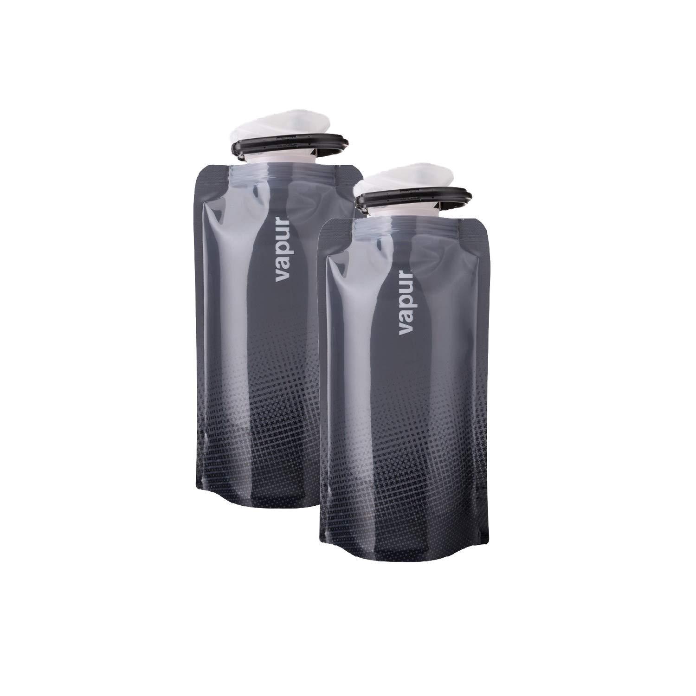 Vapur Cool Grey 2-Pack Shades 0.5L BPA Free Foldable Flexible Water Bottle w//Carabiner