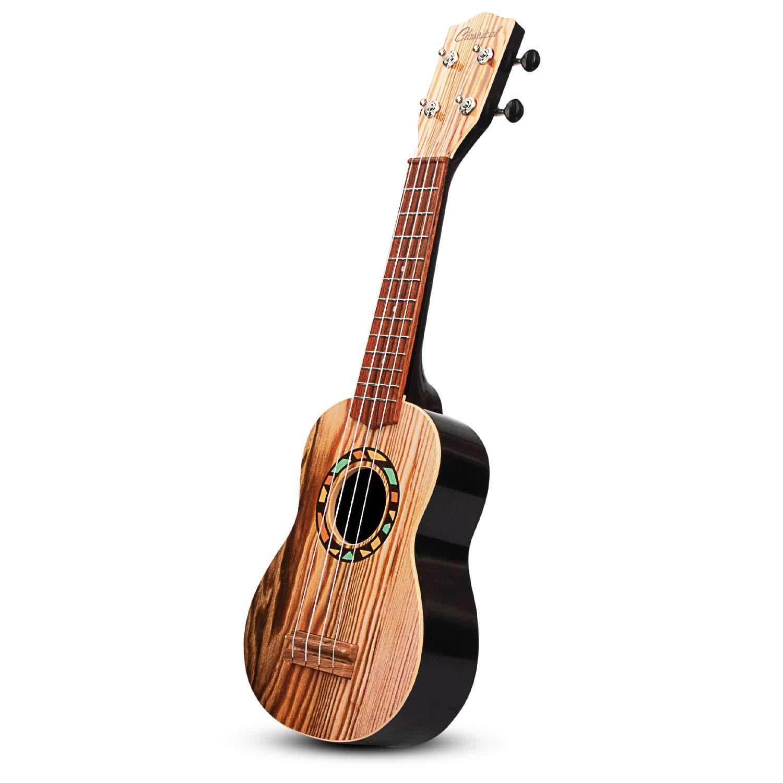 aPerfectLife 21'' Kids Ukulele Guitar Toy 4 Strings Mini Guitar Children Musical Instruments Educational Learning Toys with Picks and Strap for Toddler Kids Boys Girls Beginner Starter (Burlywood)