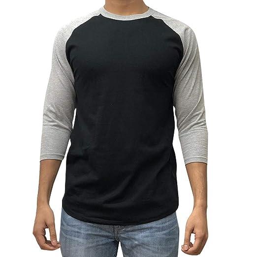 0e6dc715 KANGORA Men's Plain Raglan Baseball Tee T-Shirt Unisex 3/4 Sleeve Casual  Athletic Performance Jersey Shirt (24+ Colors)