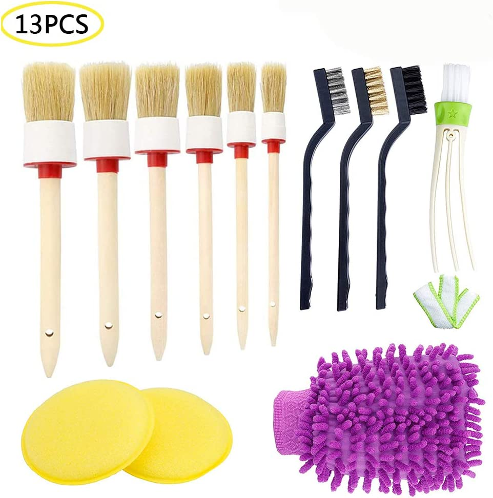 Exterior FANHAY Auto Detailing Brush Set for Cleaning Car Motorcycle Automotive Dashboard,Interior Leather Air Vents,Emblems,Seats,Cleaning Weels,Pack of 13