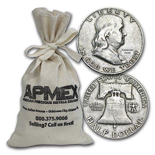 1948-1963 90% Silver Franklin Half-Dollars $100 Face-Value Bag Avg Circ Half Dollar Very (Silver Half Dollars Value)