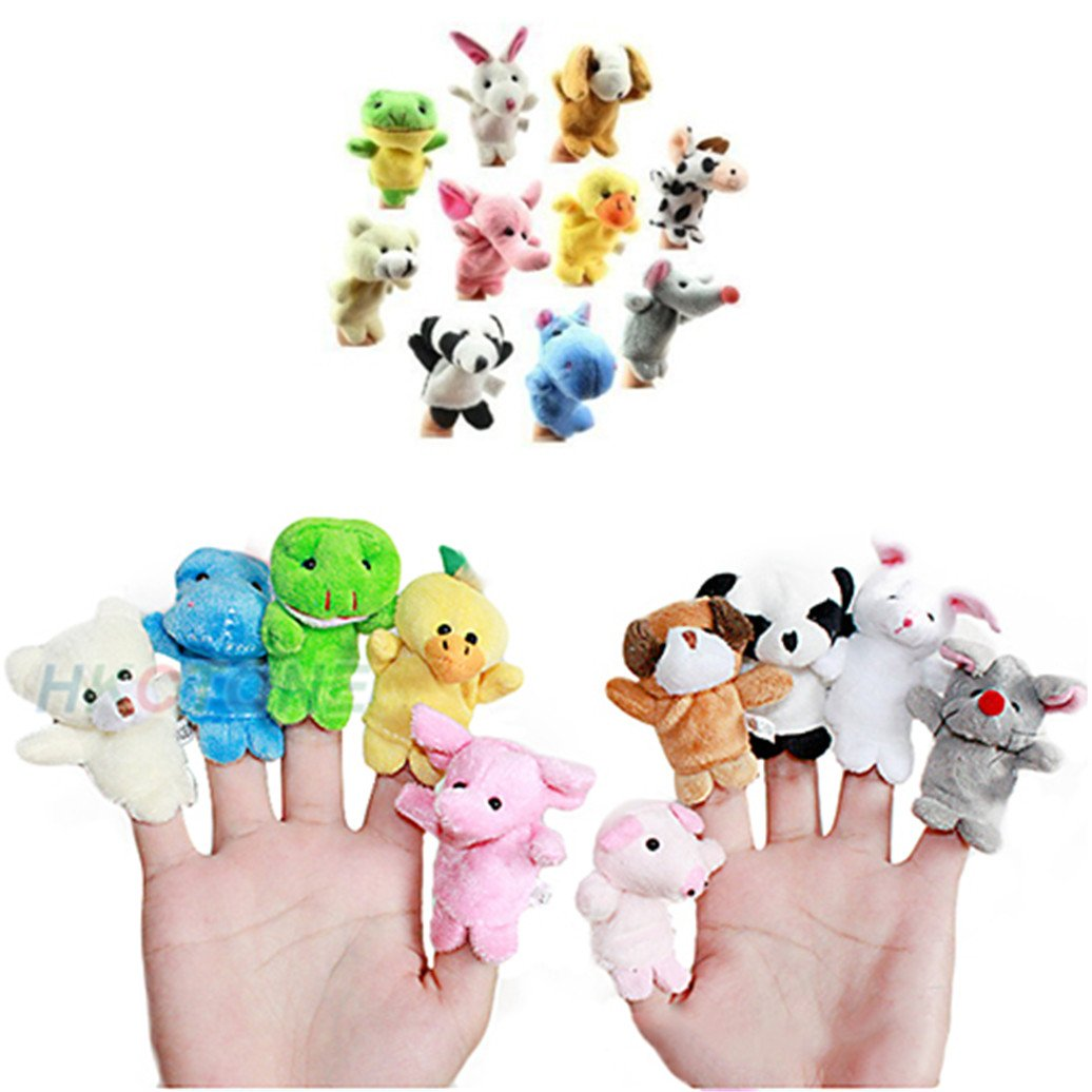 timeracing 10Pcs Cute Family Finger Animal Puppet Kids Play Doll Baby Educational Hand Cartoon Toy