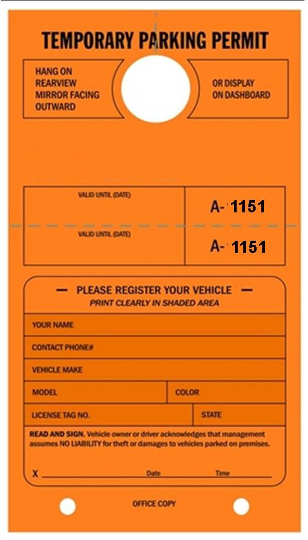 Temporary Parking Permit - Mirror Hang Tags, Numbered with Tear-Off Stub, 7-3/4'' x 4-1/4'', Bright Fluorescent Orange - Pack of 50 Tags (1151-1200)