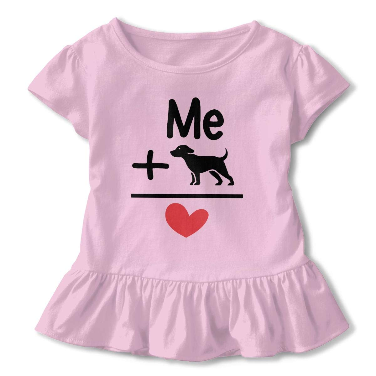 Me Dogs = Love Kids Girls Short Sleeve Ruffles Shirt T-Shirt for 2-6 Toddlers