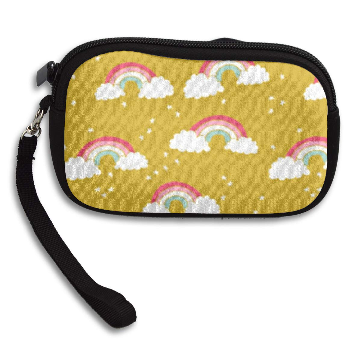 Tiny Bag for Earbuds with Rainbow print kawaii style Zippered Small Pouch for Coins and Cards